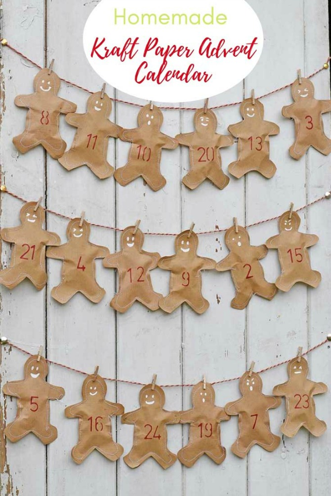 Kraft Paper Gingerbread Homemade Advent Calendar