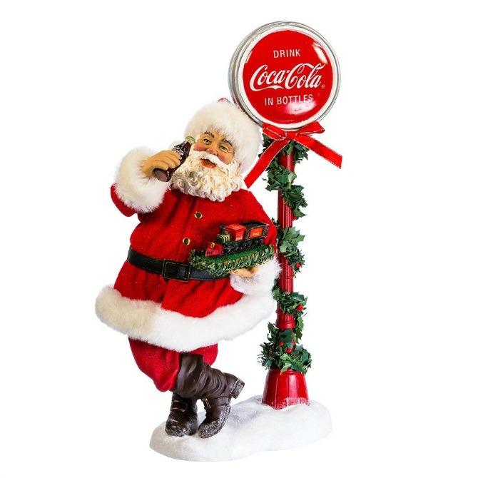 Kurt Adler 14-inch Santa with LED Light-Up Coke Sign