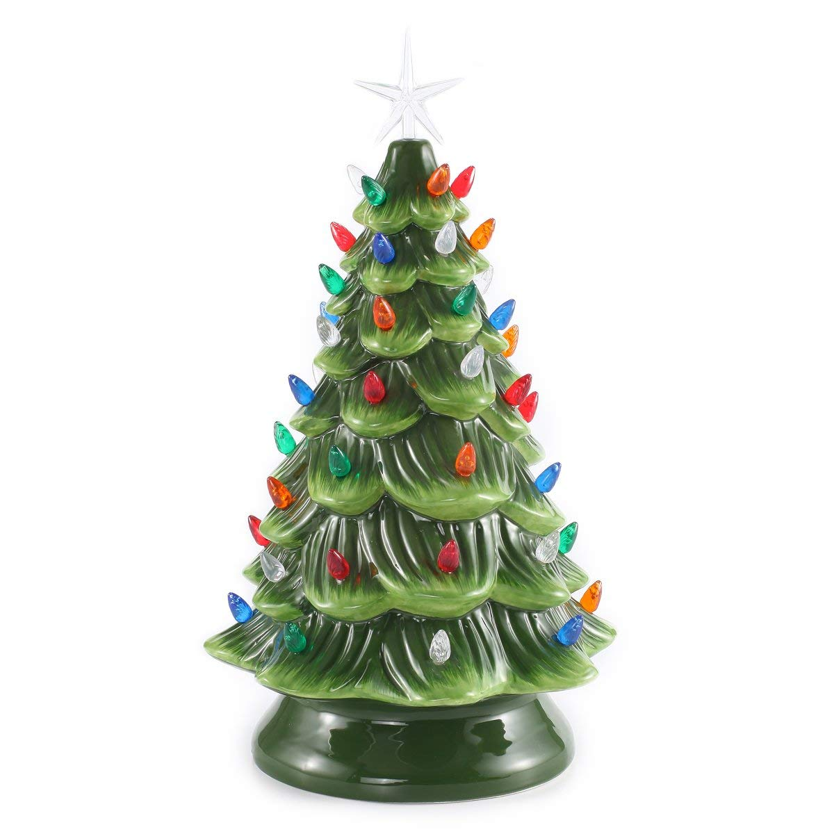 Prelit Ceramic Christmas Tree with Multicolor Bulbs - Nostalgic Christmas Decor - These are my FAVORITE