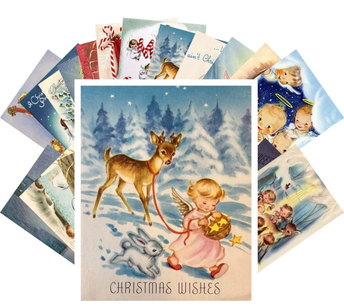 Vintage Christmas Greeting Cards 24pcs Little Angels Christmas Prayer REPRINT Postcard Pack