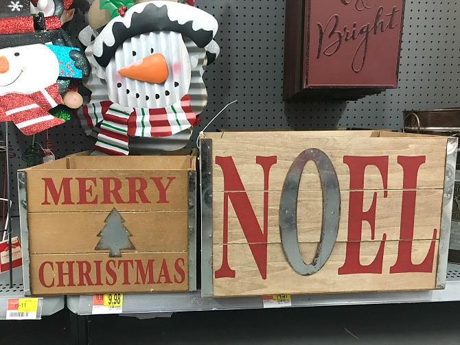 Walmart Christmas Decor - Rustic Wooden Decorative Crates