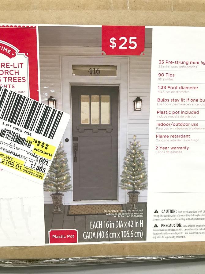 Walmart Outdoor Christmas - Porch trees