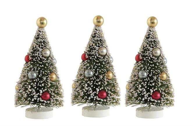 whimsy set of three bottle brush trees vintage christmas decorations