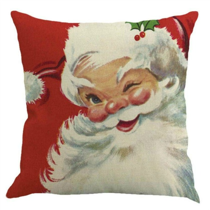 An easy seasonal switch: Vintage-Inspired Christmas Pillow Covers - Winking Santa Christmas Pillow Case - Retro Christmas Decorating