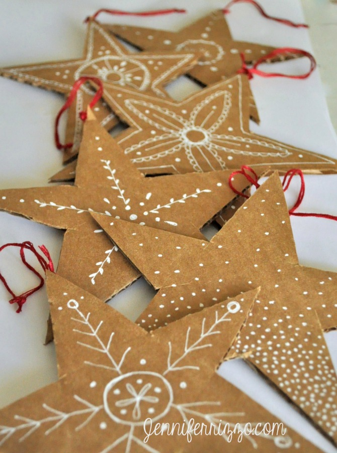 handmade cardboard Christmas cookie star ornaments - Christmas paper ornaments