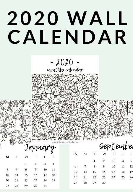 Download and print this FREE adult coloring calendar with 12 coloring book style coloring pages. This wall calendar can be printed, colored, and hung in your home or office. Free 2020 calendar.