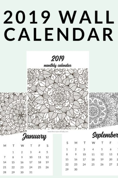 Free Printable 2019 Adult Coloring Calendar