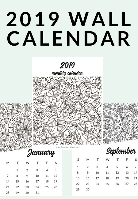 Calendar Pages To Print 2019.Free Printable 2019 Adult Coloring Calendar The Crazy Craft Lady