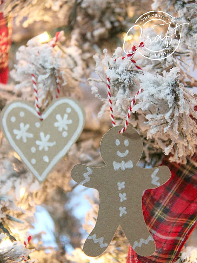 Paper Gingerbread Cookie Ornaments