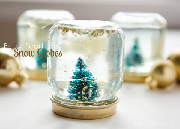 12 DIY Snow Globes filled with Winter Magic - baby food jar snow globes
