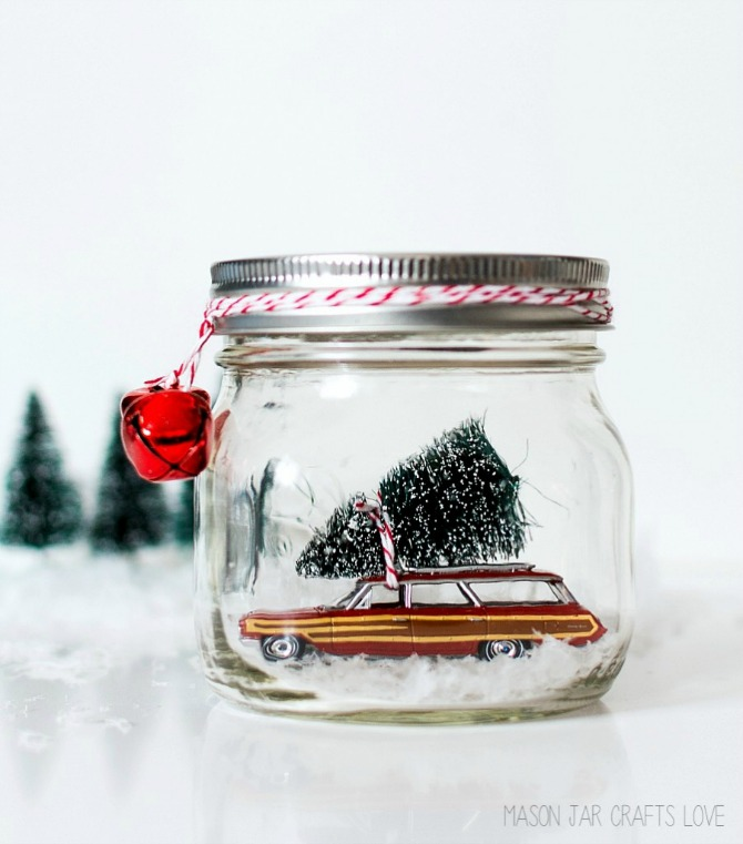 12 DIY Snow Globes filled with Winter Magic - car in a jar mini mason jar snow globe