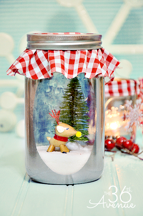 12 DIY Snow Globes filled with Winter Magic - diy mercury glass snow globe jars
