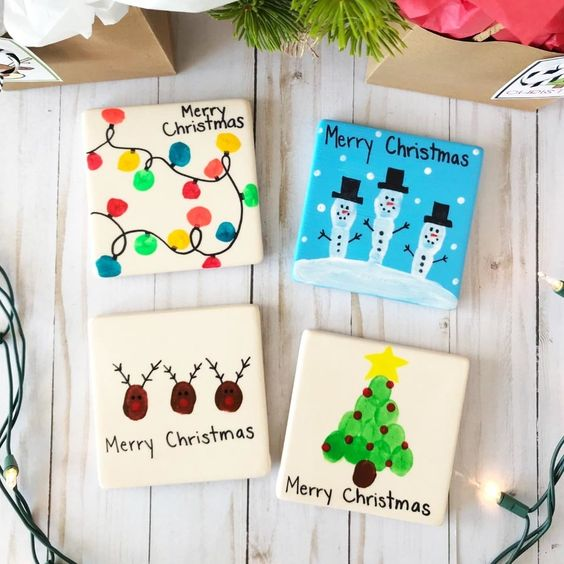 Sentimental Homemade Christmas Gifts from Kids -kids artwork coasters