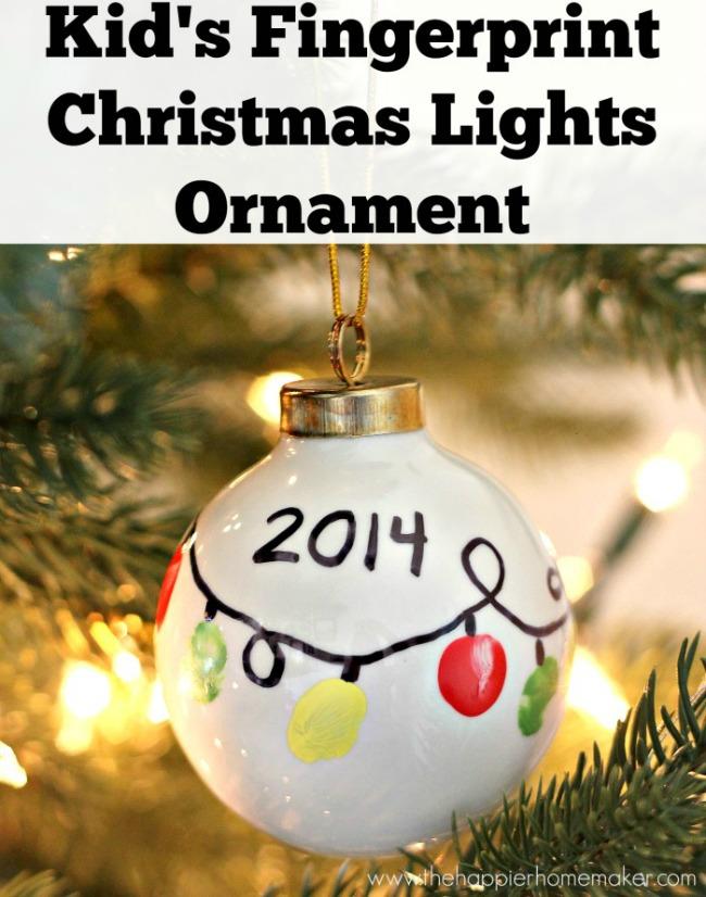 Sentimental Homemade Christmas Gifts from Kids - fingerprint christmas lights ornament