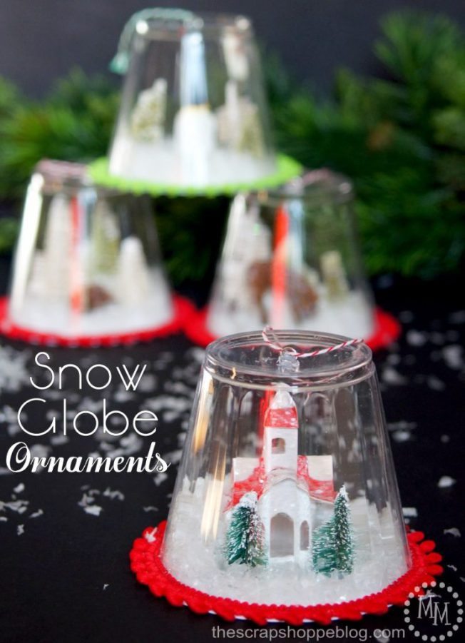 12 DIY Snow Globes filled with Winter Magic - plastic cup snow globe ornaments