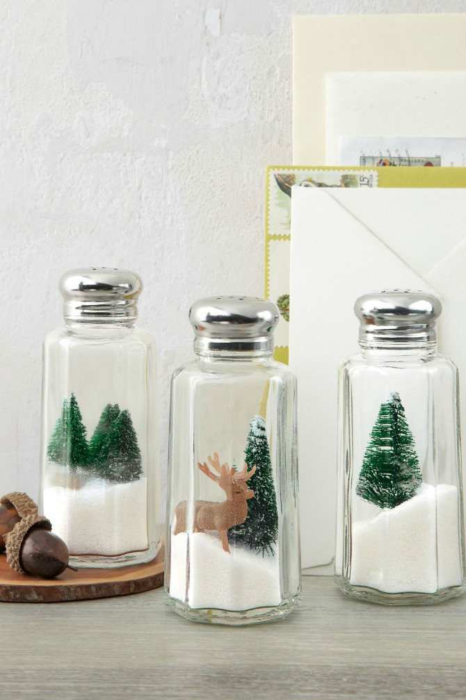 12 DIY Snow Globes filled with Winter Magic - salt shaker snow globes