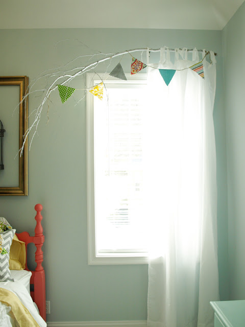 DIY Painted Tree Branch Curtain Rod