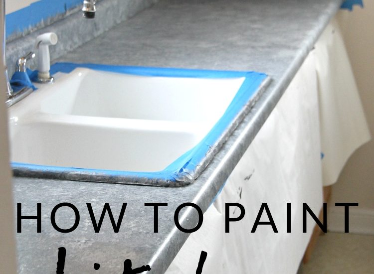 """Learn all about painting laminate counters! I painted our kitchen counters using a """"granite"""" Giani countertop paint kit. It's an easy and affordable way to update your kitchen."""