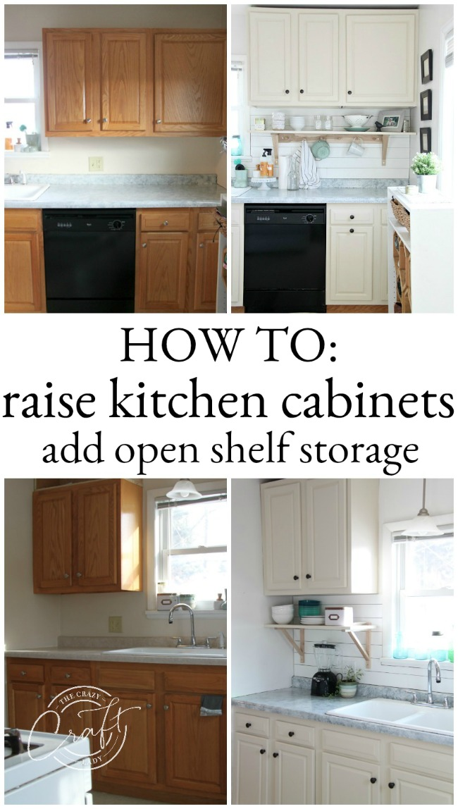 See how I raised our kitchen cabinets to the ceiling and added a floating shelf underneath to maximize storage space in our small kitchen.