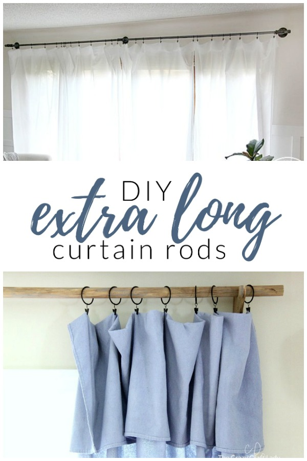 How to DIY your own extra long curtain rods. I've got some completely customizable options to suit any space, no matter what size your windows.