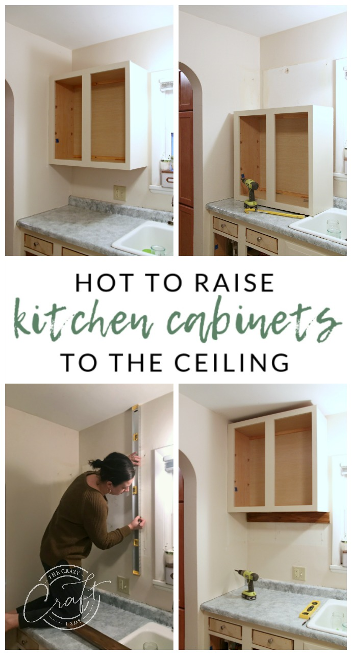 See how to raise kitchen cabinets to the ceiling and added a floating shelf underneath to maximize storage space in a small kitchen.