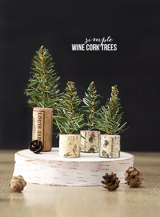 Simple Rustic Winter Craft DIY Wine Cork Evergreen trees - Pretty AND Functional Wine Cork Crafts