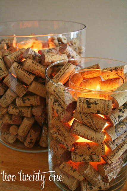 Wine Cork Candle Holder and Vase Filler- Pretty AND Functional Wine Cork Crafts