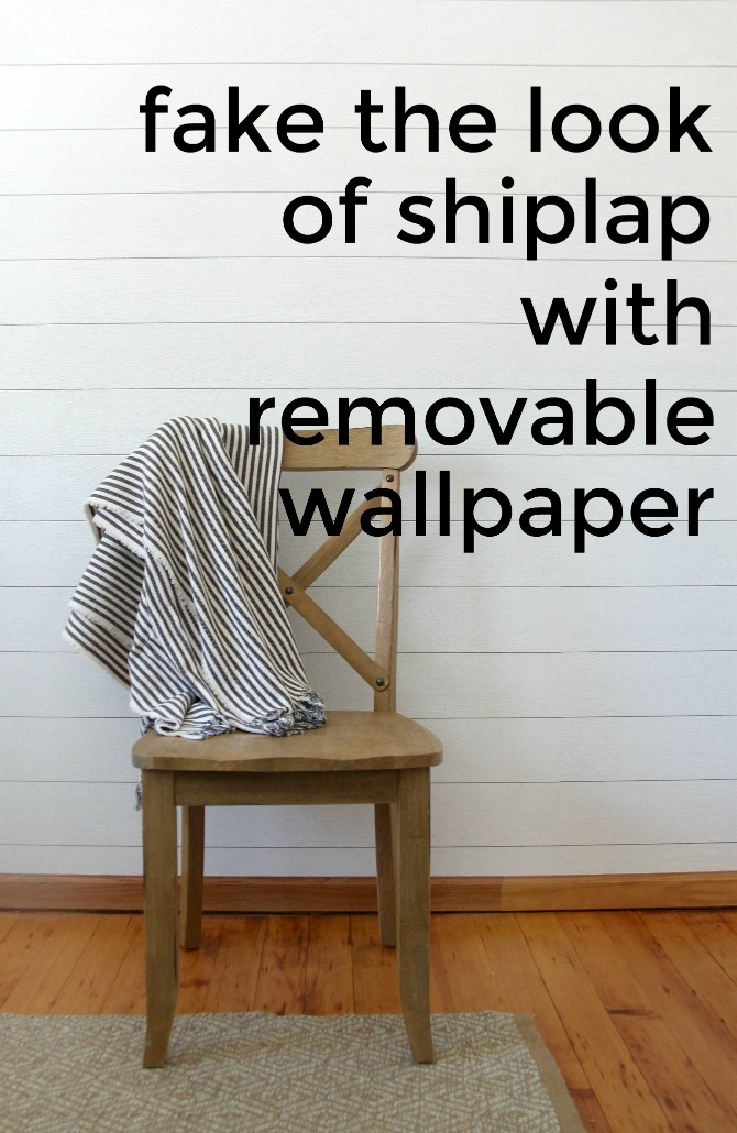 How to make a faux shiplap wall (completely temporary & damage-free) using realistic peel-and-stick wallpaper. Get the farmhouse look without construction!