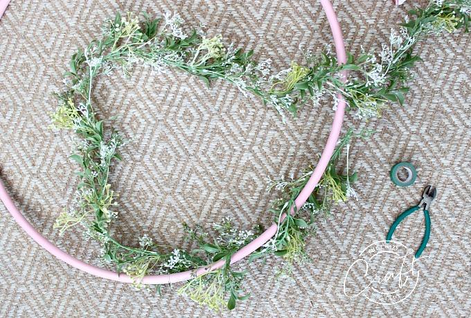 Making a Hula Hoop Wreath
