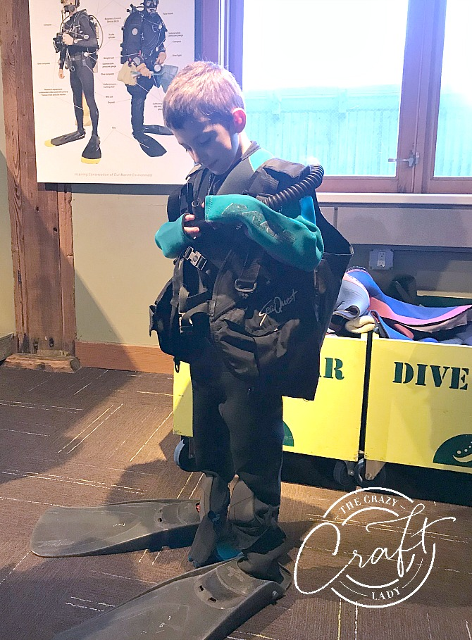 Learning about scuba diving at the Seattle Aquarium