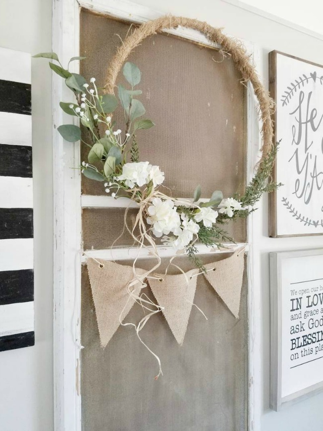 Rustic DIY Hoop Wreath - Get inspired to make your very own hula hoop wreath with one of these 8 gorgeous giant hoop wreaths. Add some fun to your home or party decor.