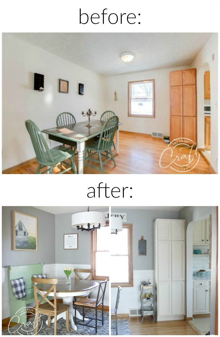 cottage farmhouse dining room before and after