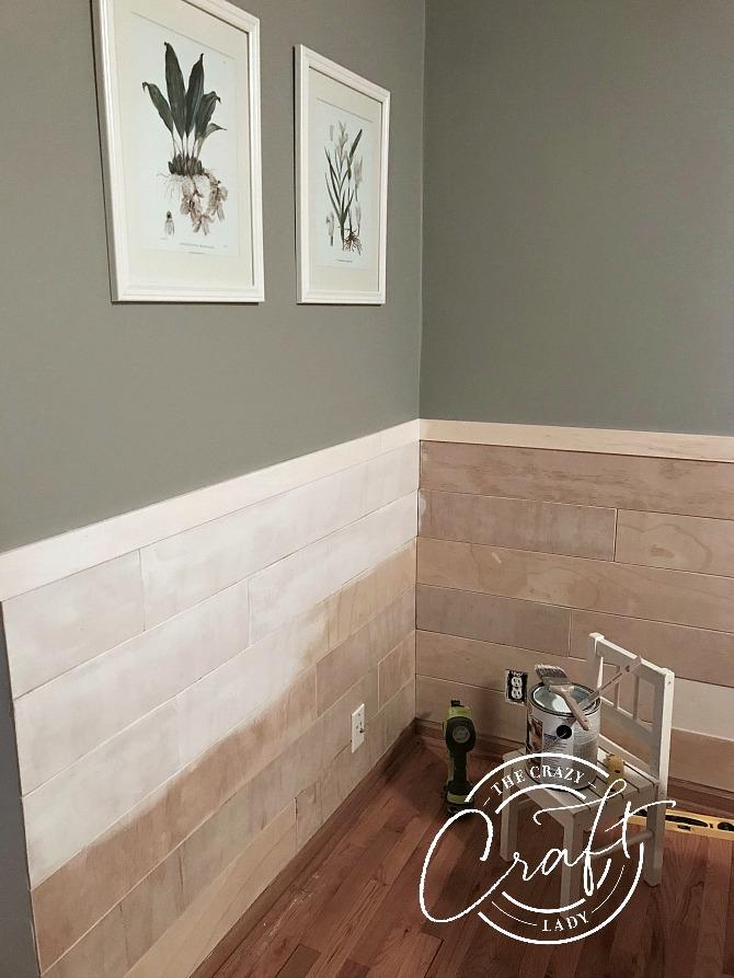 dining room shiplap chair rail in progress