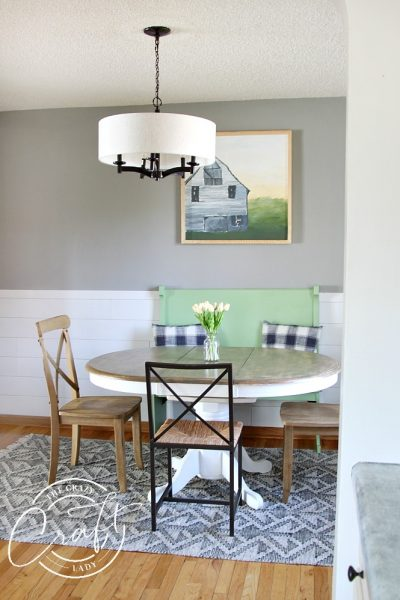 My Faux Shiplap Chair Rail and Farmhouse Dining Room Reveal
