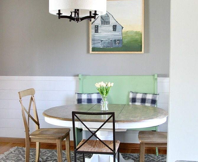 farmhouse dining room reveal with shiplap wall and painted dining set