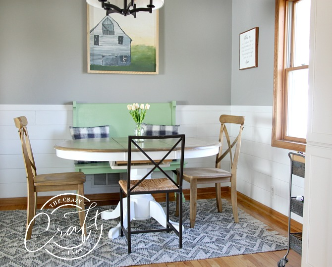 neutral cottage farmhouse dining room with shiplap chair rail