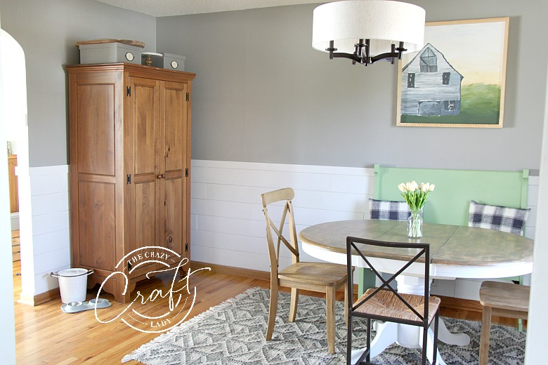 shiplap chair rail in a dining room
