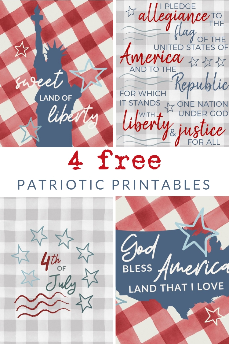 Download and print these FREE Buffalo Check Patriotic Printables - for your seasonal gallery walls, to print as a greeting card, or just because!