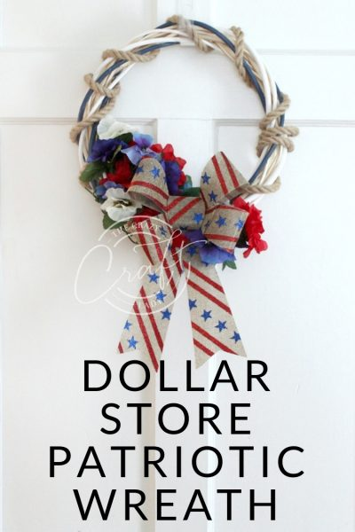 Dollar Store Patriotic Wreath - Make a red, white, and blue wreath from dollar store supplies to decorate for Memorial Day or the Fourth of July.