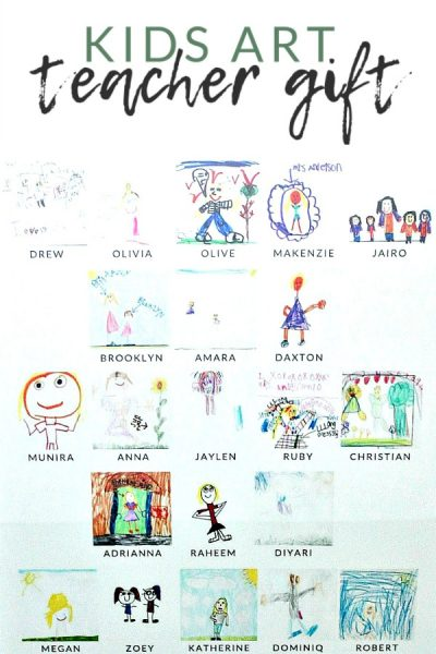 Kids Art Teacher Gift – A photo collage made from kids drawings