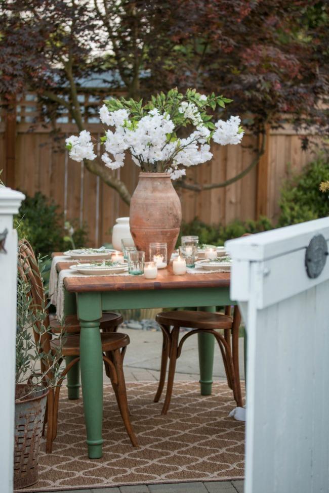Magnolia green painted garden table