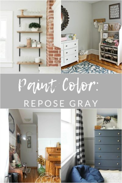 "If you're looking for the perfect ""greige"" paint to compliment your white farmhouse trim and accents, look no further than Repose Gray by Sherwin Williams."