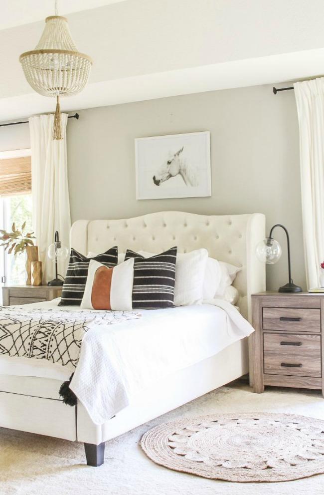 Sherwin Williams Repose Gray bedroom wall color