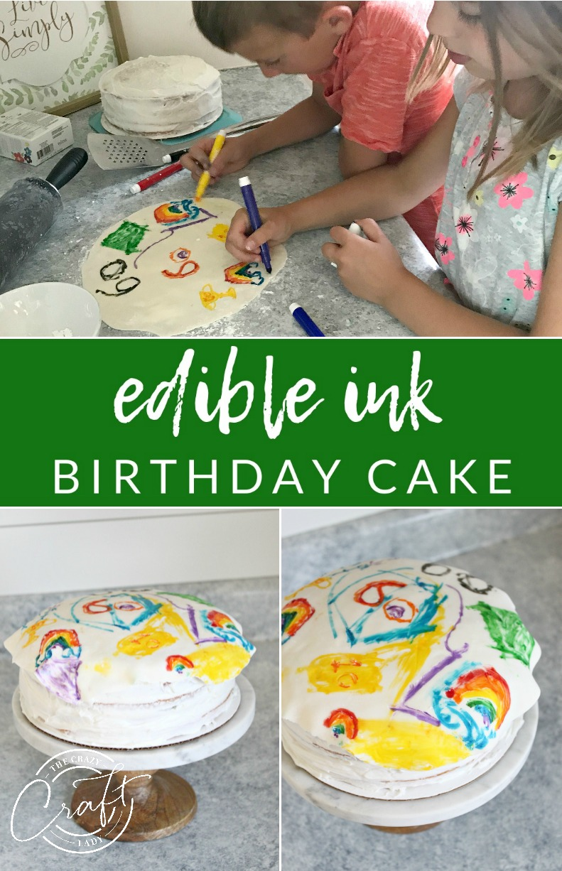 Edible Ink Birthday Cake - make this customized artwork cake, perfect for the kids to help make