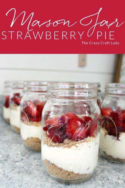 Individual Mason Jar Strawberry Pie - Follow this super simple recipe to make individual strawberry pies - a light and refreshing no-bake summer treat that highlights fresh summer strawberries.