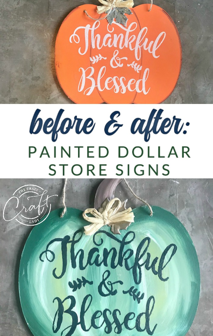 Update a dollar store pumpkin sign to have a fresh farmhouse feel, with just a little bit of paint.