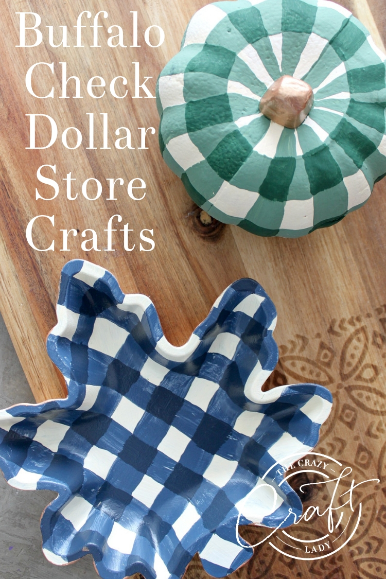 Watch this tutorial and learn how to transform dollar store fall decor with paint and buffalo check painting. A great way to add farmhouse style on a dime!