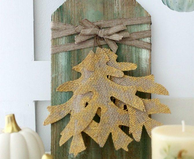 DIY rustic fall mini sign using dollar store burlap leaves and scrap wood