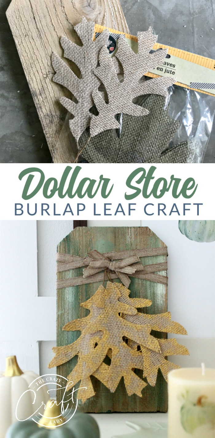Grab some burlap leaves, scrap wood, and paint to make this Dollar Store burlap leaves mini sign, perfect for fall decorating. A quick, rustic, easy fall craft.