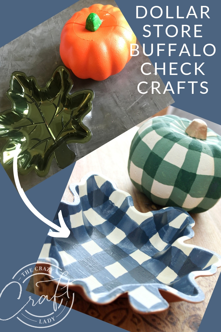 Fall Buffalo Check Painting - Dollar Store Crafts. Watch this tutorial and learn how to transform dollar store fall decor with paint and buffalo check painting. A great way to add farmhouse style on a dime!